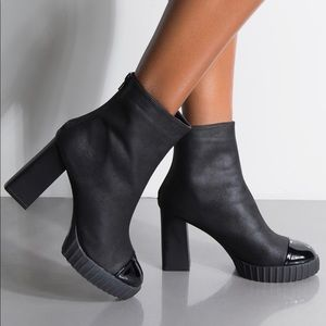 New Qupid bootie with black patent toe.
